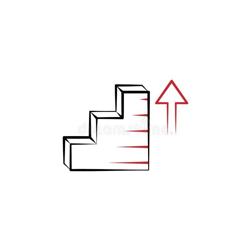 Motivation, buts, escaliers, vers le haut de discrimination raciale icône de la flèche 2 Élément tiré par la main coloré simple d illustration stock