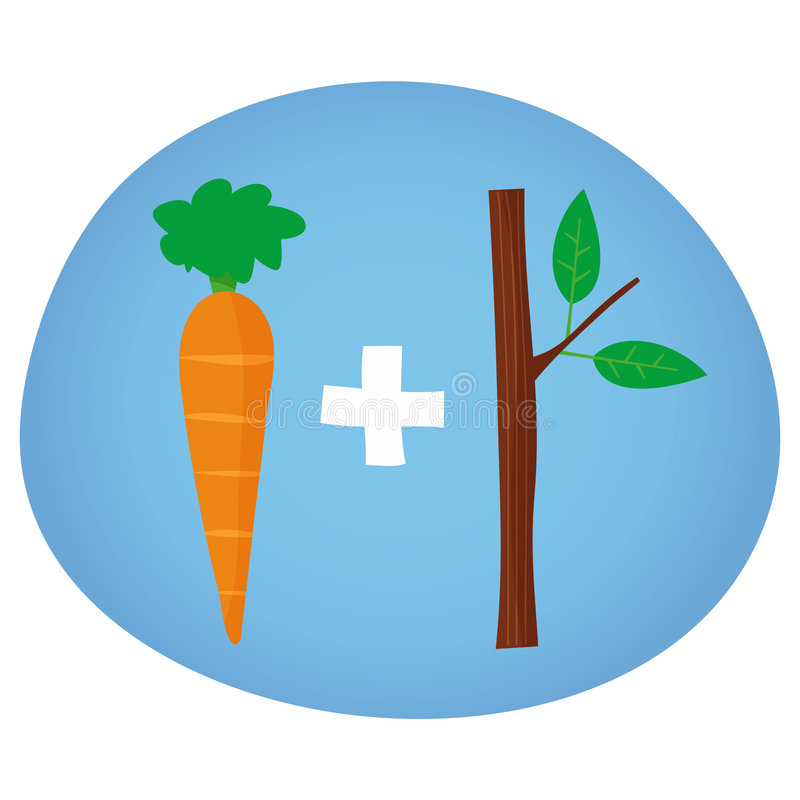 Motivation Carrot And Stick - Vector Illustration Royalty Free Stock Photos