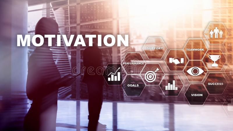 Motivation concept with business elements. Business team. Financial concept on blurred background. Mixed media.  stock image