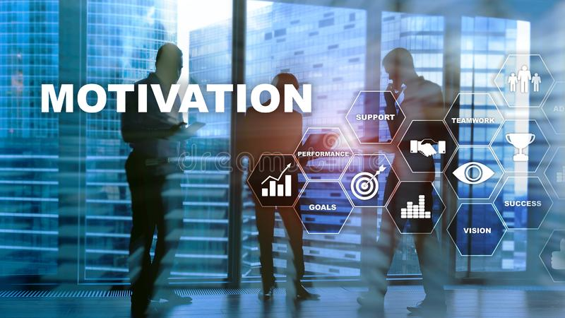 Motivation concept with business elements. Business team. Financial concept on blurred background. Mixed media. stock photography