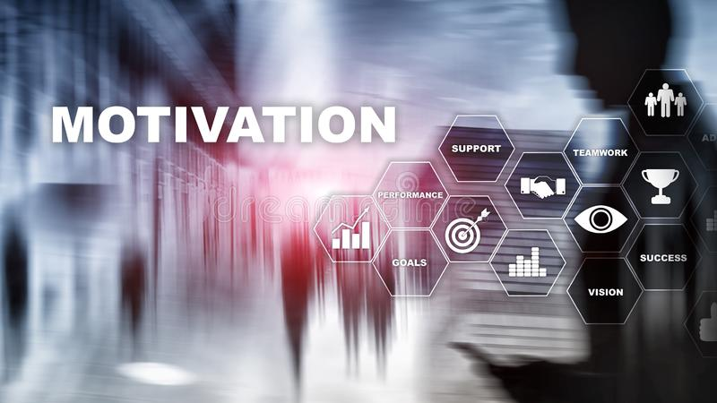 Motivation concept with business elements. Business team. Financial concept on blurred background. Mixed media stock image