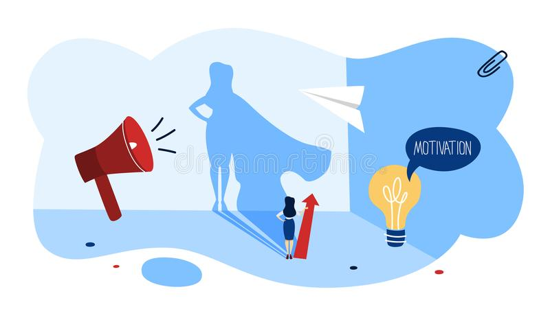 Motivation concept. Business woman with superhero shadow. stock illustration