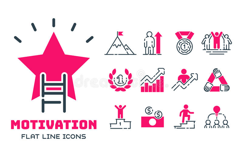 Motivation concept chart pink icon business strategy development design and management leadership teamwork growth. Motivation concept chart pink icon business vector illustration