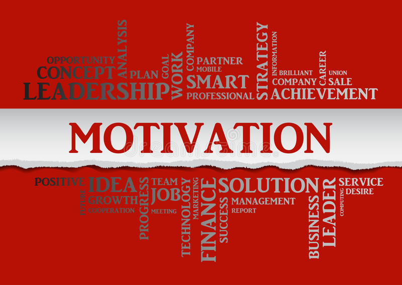 Motivation concept related words in tag cloud. Isolated with different association business terms. The effect of torn paper. Vector stock illustration