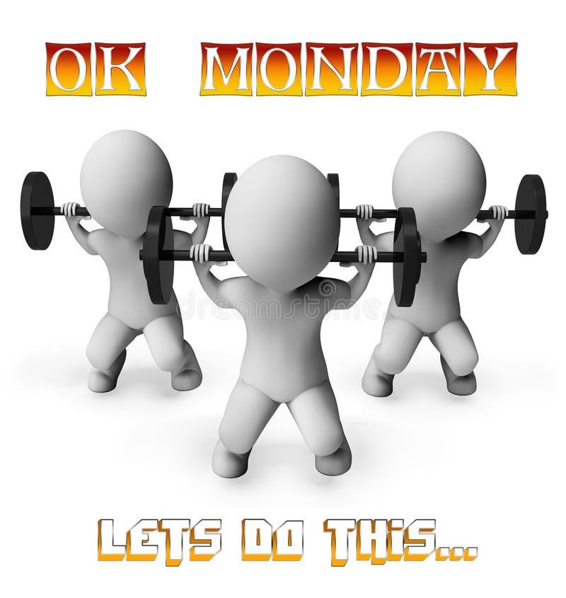 Motivation de forme physique de lundi - poids de levage - illustration 3d illustration stock