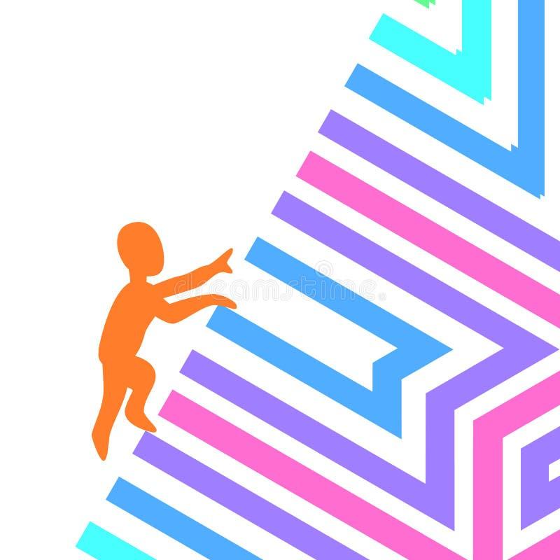 Motivation de logo de symbole et obstacles de franchissement illustration stock