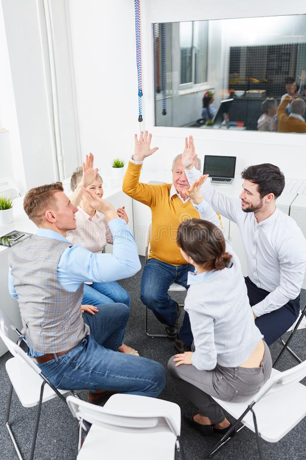 Motivation exercise for group of business people. In teambuilding training royalty free stock photos