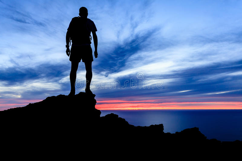 Motivation and freedom sunset silhouette stock image