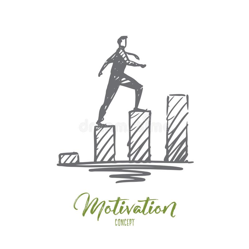 Motivation, Geschäft, Erfolg, Karriere, Fortschrittskonzept Hand gezeichneter lokalisierter Vektor stock abbildung