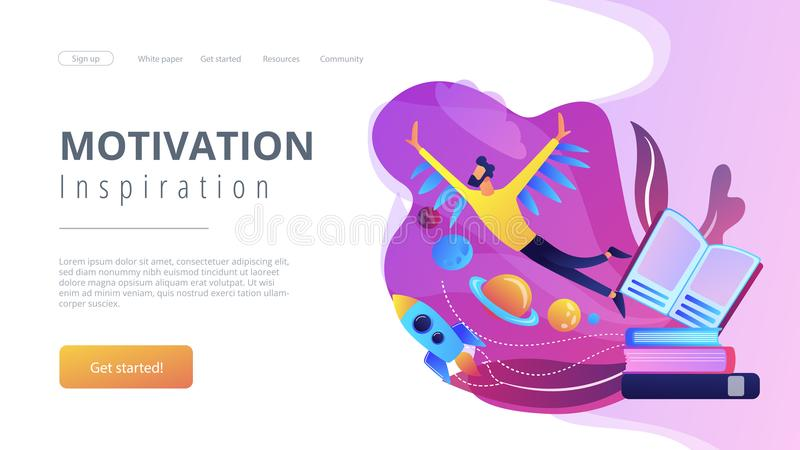 Motivation and inspiration landing page. stock illustration