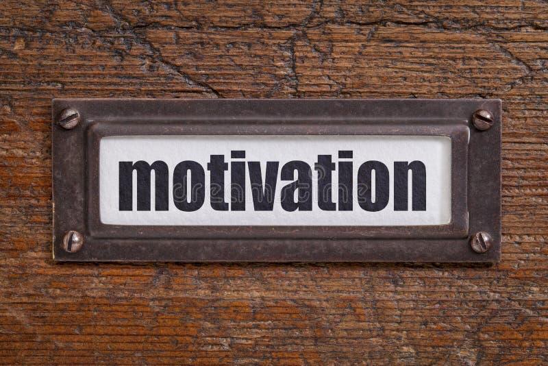 Motivation - label de classeur images libres de droits