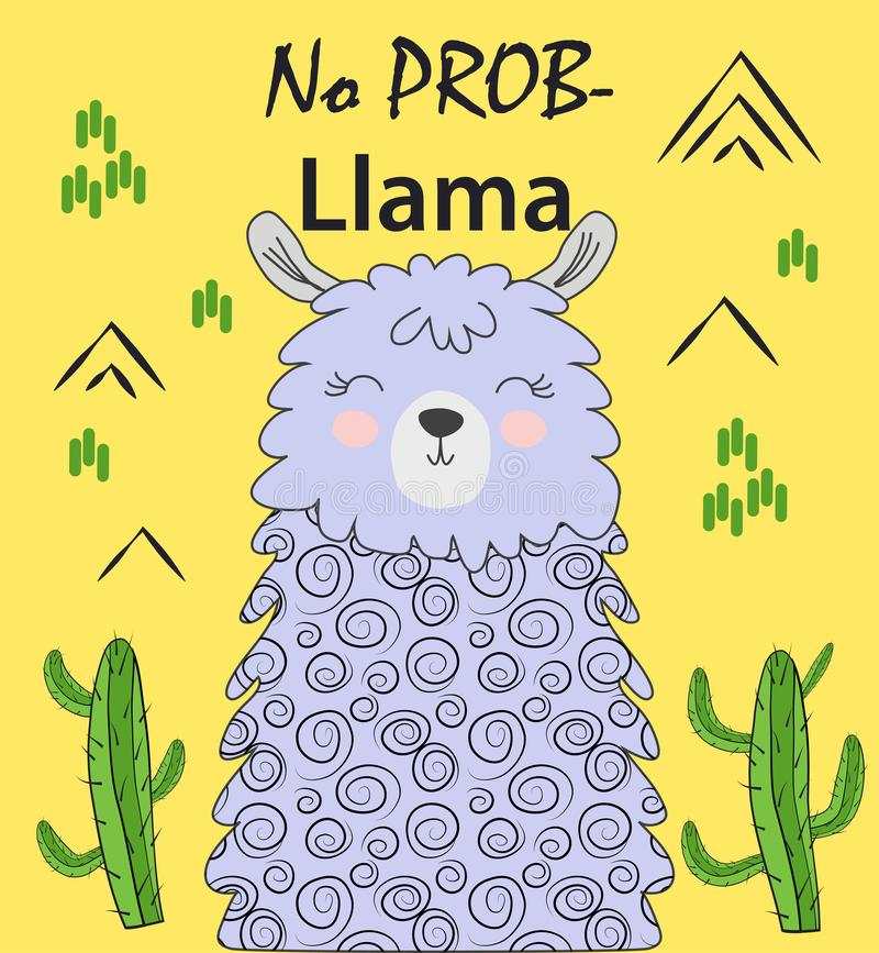 Motivation lettering with No drama llama. Chilling funny doodle alpaca or peru symbol lama vector illustration