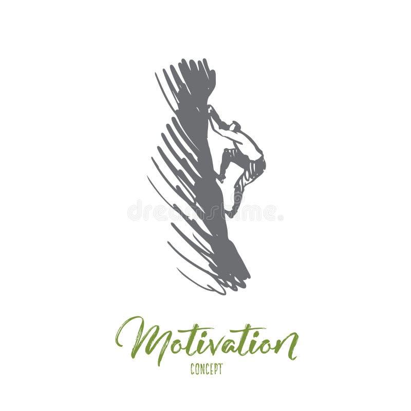 Motivation mål, framgång, maximum, klättringbegrepp Hand dragen isolerad vektor vektor illustrationer