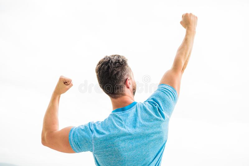 Daily motivation. muscular back man isolated on white. Sexuality and moving concept. i am a winner. champion in life. Man celebrating victory or success. happy royalty free stock image