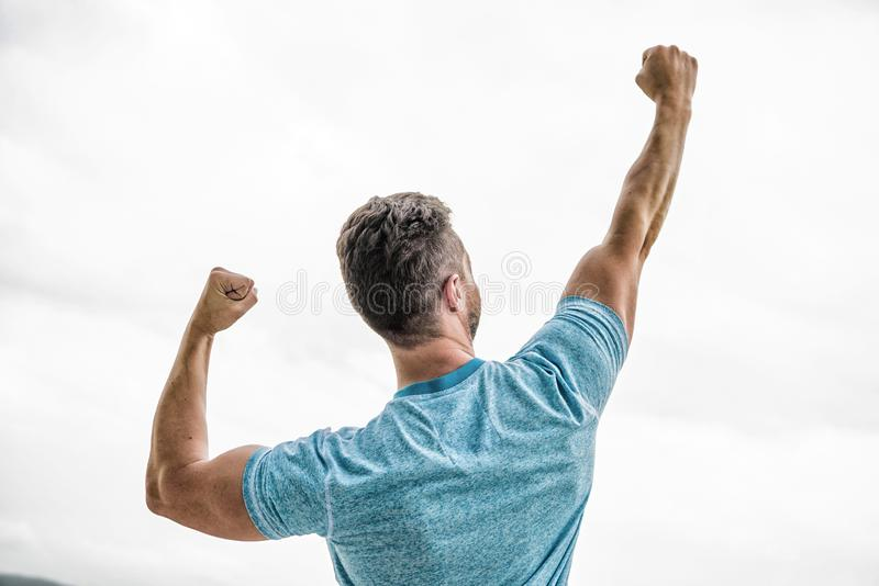 Daily motivation. muscular back man isolated on white. Sexuality and moving concept. i am a winner. champion in life. Man celebrating victory or success. happy stock photography
