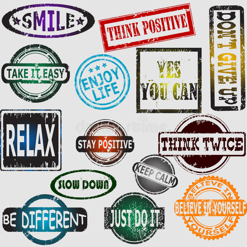 Motivation and positive thinking messages rubber stamps set. Set of motivation and positive thinking messages rubber stamps vector illustration
