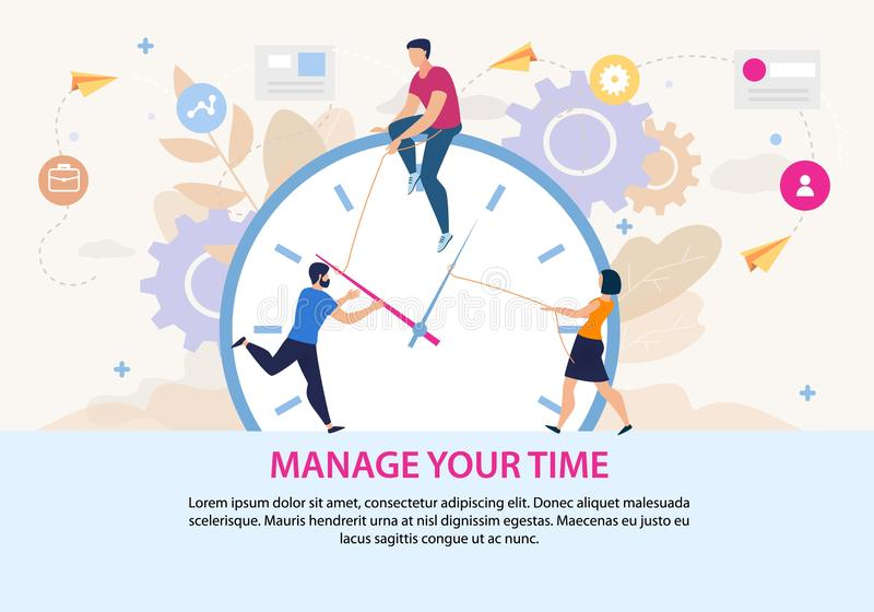 Motivation Poster with Manage Your Time Lettering. Cartoon Men and Woman People Character Translating Clock Hands. Office Work Optimization. Effective stock illustration