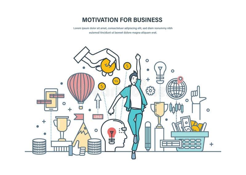 Motivation pour des affaires Accomplissement des buts élevés, perfectionnement des connaissances personnelles, croissance de carr illustration stock