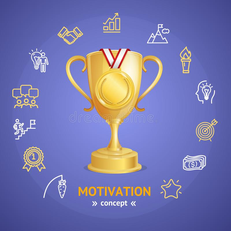 Motivation and Productivity Concept with Golden Cup. Vector vector illustration