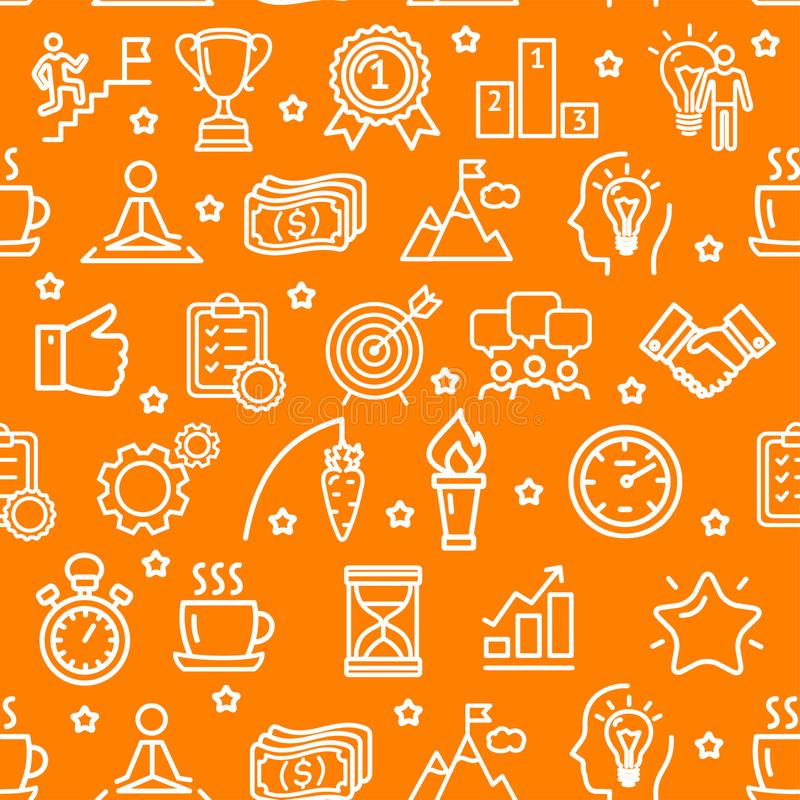 Motivation and Productivity Seamless Pattern Background on a Orange. Vector royalty free illustration