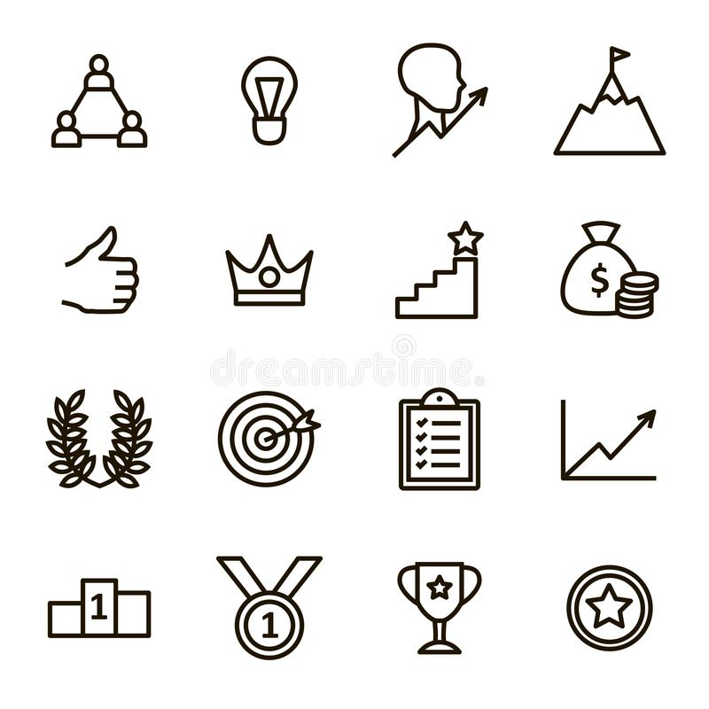 Motivation and Productivity Signs Black Thin Line Icon Set. Vector royalty free illustration