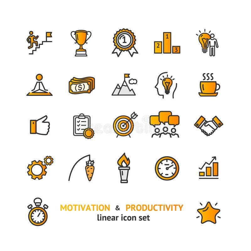 Motivation and Productivity Signs Color Thin Line Icon Set. Vector vector illustration