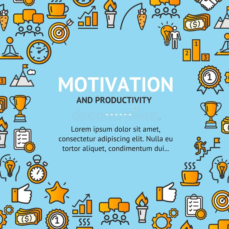Motivation and Productivity Signs Round Design Template Line Icon Concept. Vector stock illustration