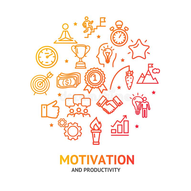 Motivation and Productivity Signs Round Design Template Line Icon Concept. Vector royalty free illustration