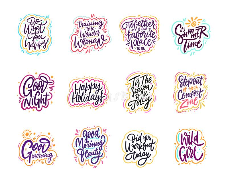Motivation quote. Cartoon style typography. Cute sign. Hand drawn vector lettering phrases set. Isolated on white background stock illustration