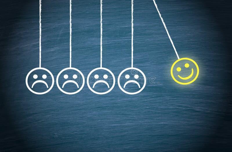 Motivation, Teamwork, Leadership, Coaching. Smiley pendulum concept royalty free illustration