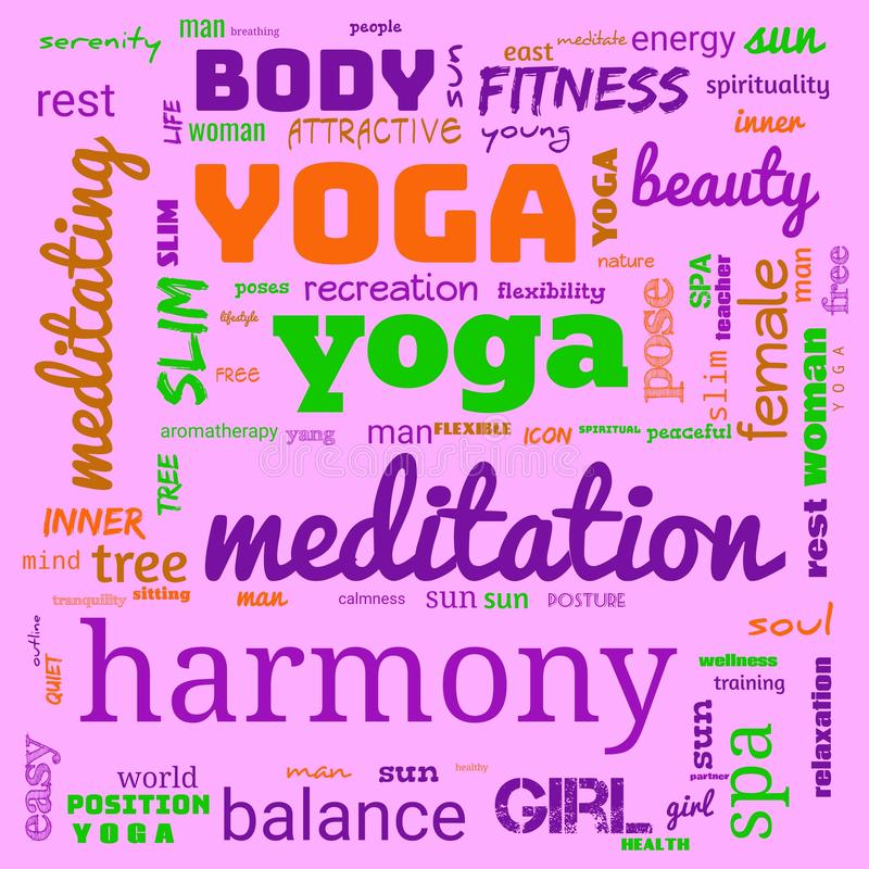 Motivation yoga word cloud, word cloud use for banner, painting, motivation, web-page, website background, t-shirt & shirt. Printing, poster, gritting & x28 stock illustration