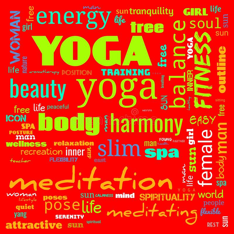 Motivation yoga word cloud, word cloud use for banner, painting, motivation, web-page, website background, t-shirt & shirt. Printing, poster, gritting & x28 royalty free illustration