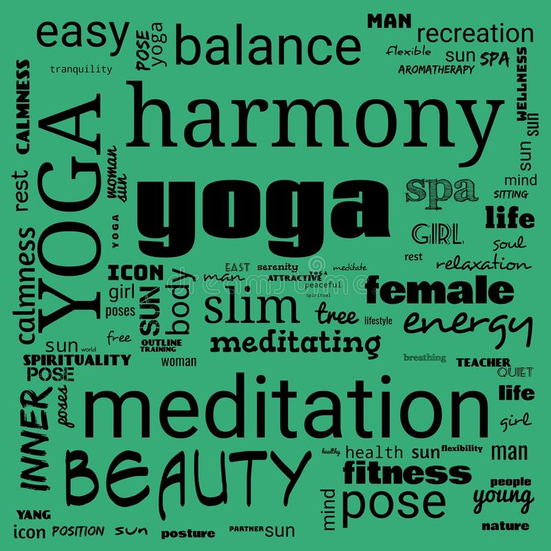 Motivation yoga word cloud, word cloud use for banner, painting, motivation, web-page, website background, t-shirt & shirt. Printing, poster, gritting & x28 vector illustration
