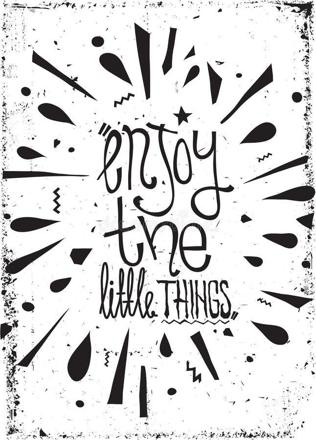 Motivational affisch för enkel tappning, klotter, med grungeeffekter stock illustrationer