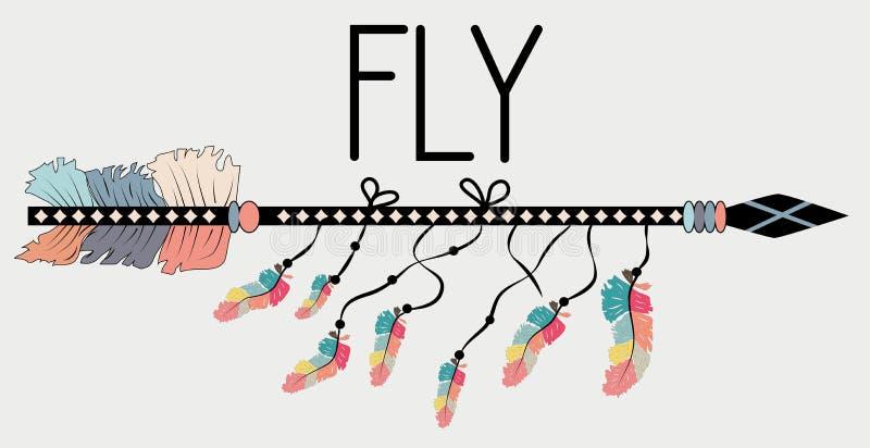 Motivational affisch i den Boho stilflugan Pil och bokstäver stock illustrationer