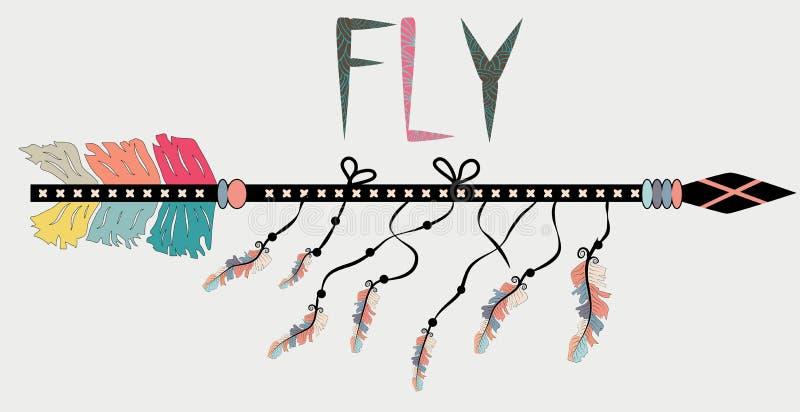 Motivational affisch i den Boho stilflugan Pil och bokstäver Utdragna svarta beståndsdelar för hand vektor illustrationer