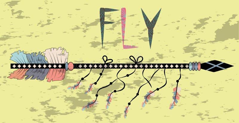 Motivational affisch i den Boho stilflugan Pil och bokstäver Utdragna svarta beståndsdelar för hand royaltyfri illustrationer