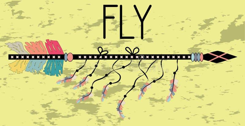 Motivational affisch i den Boho stilflugan Pil och bokstäver Utdragna svarta beståndsdelar för hand stock illustrationer