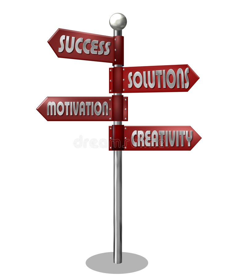Motivational business signpost. Business signpost illustration with arrows pointing towards, success, solutions, motivation and creativity, isolated on white royalty free illustration