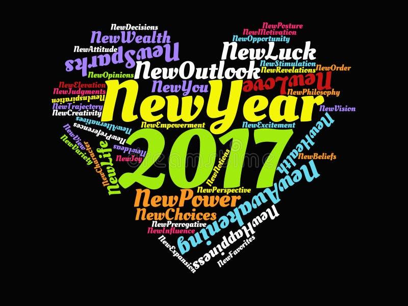 2017 Motivational citationstecken för lyckligt nytt år och affisch för konstverk för inspirerande ordstävhjärta grafisk i regnbåg fotografering för bildbyråer