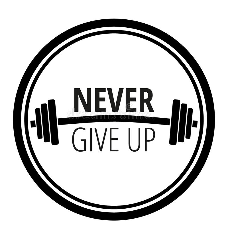 Motivational citationstecken om genomkörarekonditionidrottshall och bodybuilding/motivationbegreppstypografi/vektorillustration vektor illustrationer
