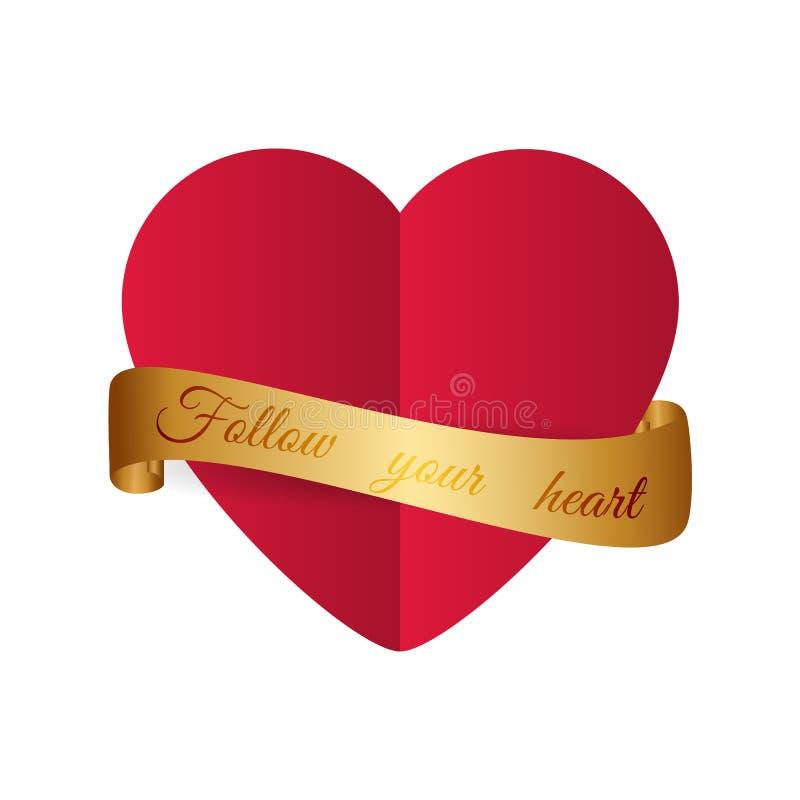 Motivational design Röd hjärta för papperssnittstil med guld- ribbo vektor illustrationer