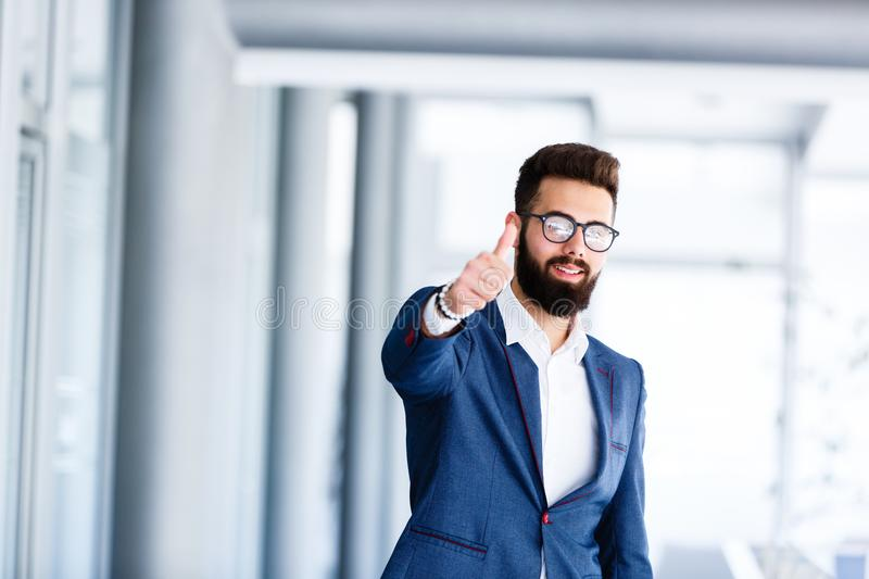 Motivational Gesture By Young Handsome Businessman royalty free stock photo