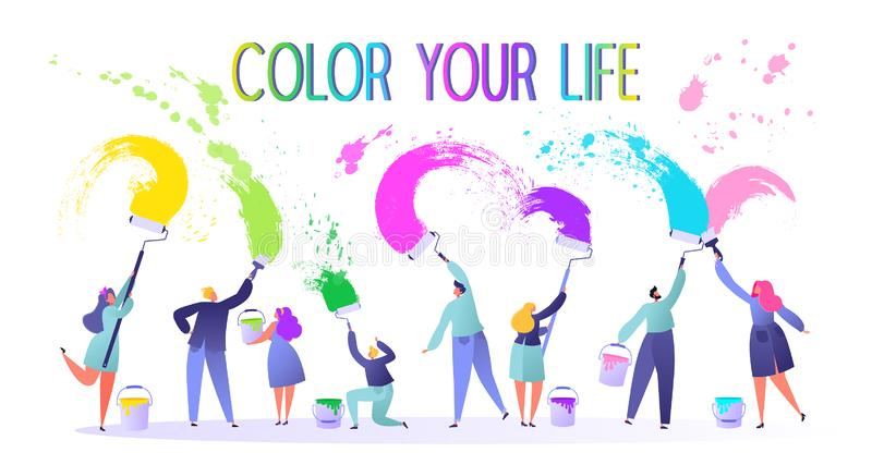 Motivational illustration on life changing theme. They calling to live a full, bright life. Little, flat, people characters paints vector illustration