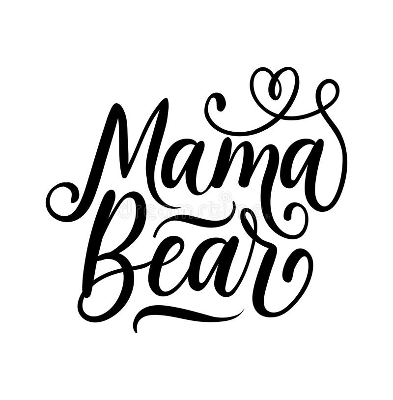 Mama bear lettering illustration with flourishes. stock illustration