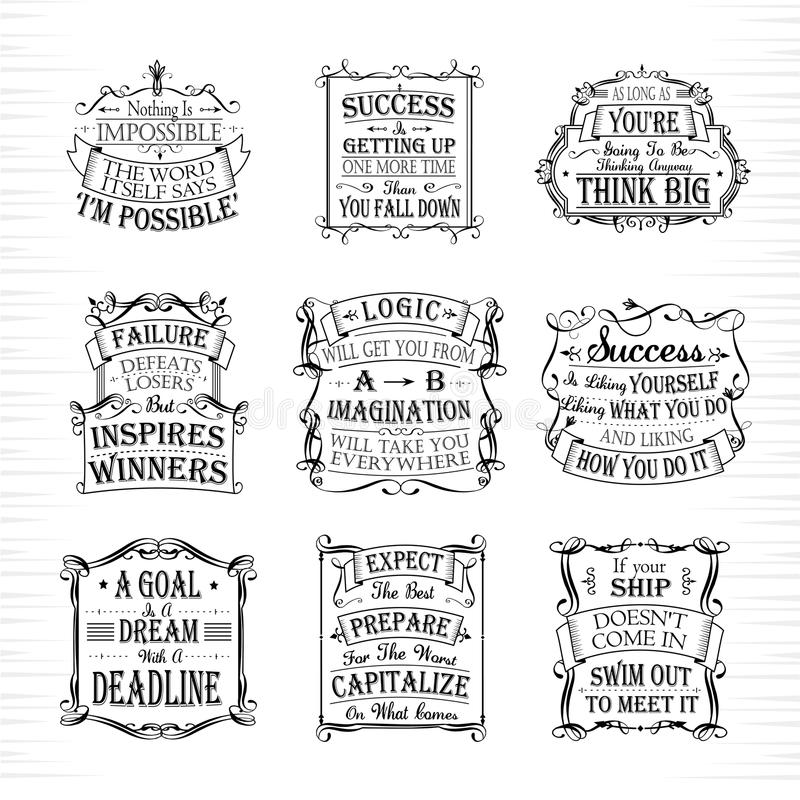 Motivational and inspirational quotes set royalty free illustration