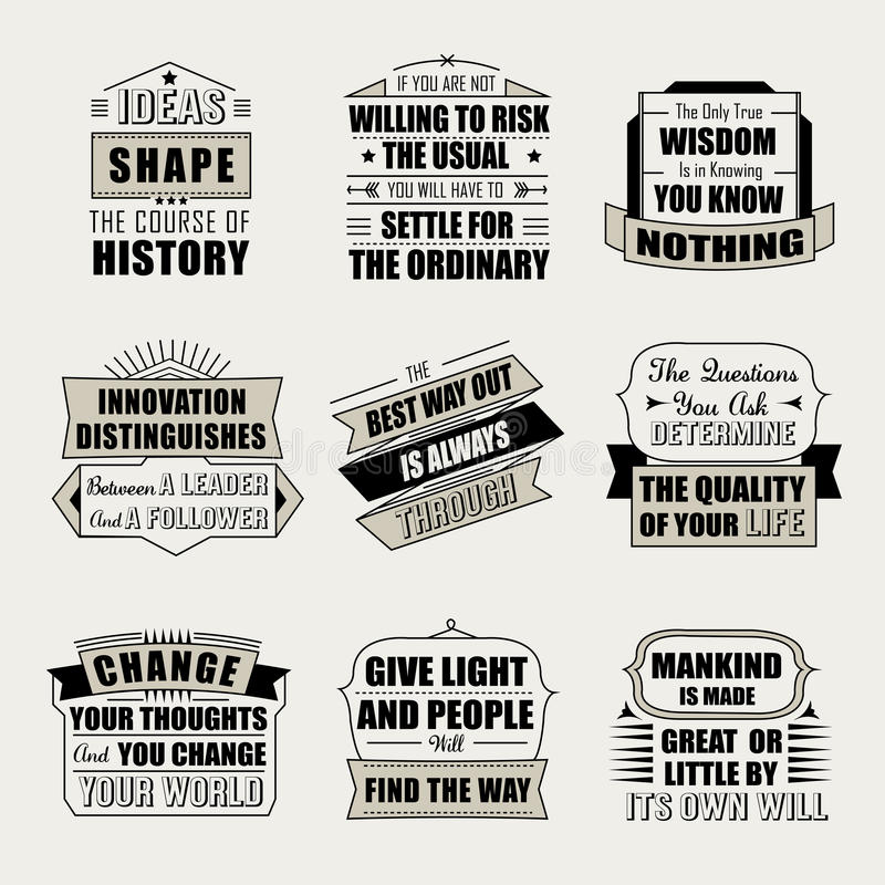 Motivational and inspirational quotes set. Isolated on beige background vector illustration