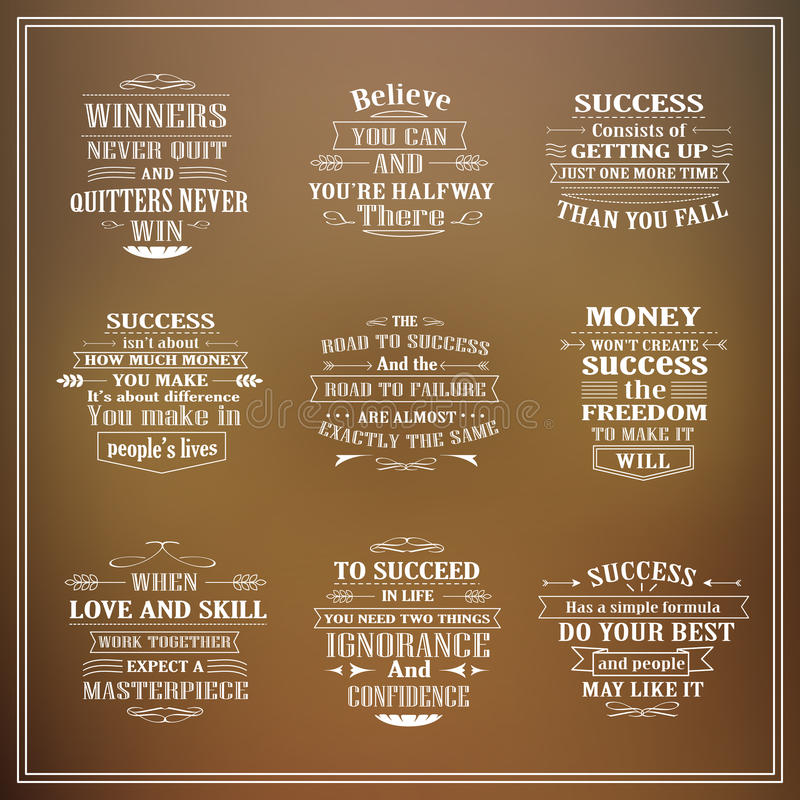 Motivational and inspirational quotes set. Isolated on blurred background vector illustration