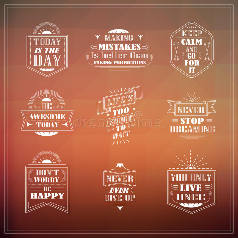 Motivational and inspirational quotes set. Isolated on blurred background royalty free illustration