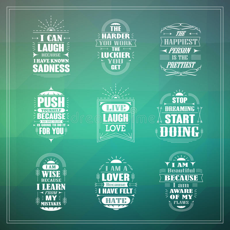 Motivational and inspirational quotes set. Isolated on blurred background stock illustration